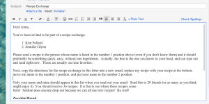 Recipe Exchange Email