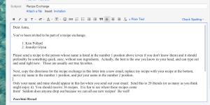 Recipe Exchange Email